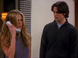 (Jennifer Aniston and Eddie Cahill as Rachel and Tag, a romance doomed by family planning, photo from friends.wikia.com)