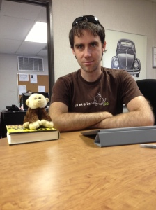 Lewis and the monkey do some tough negotiating.