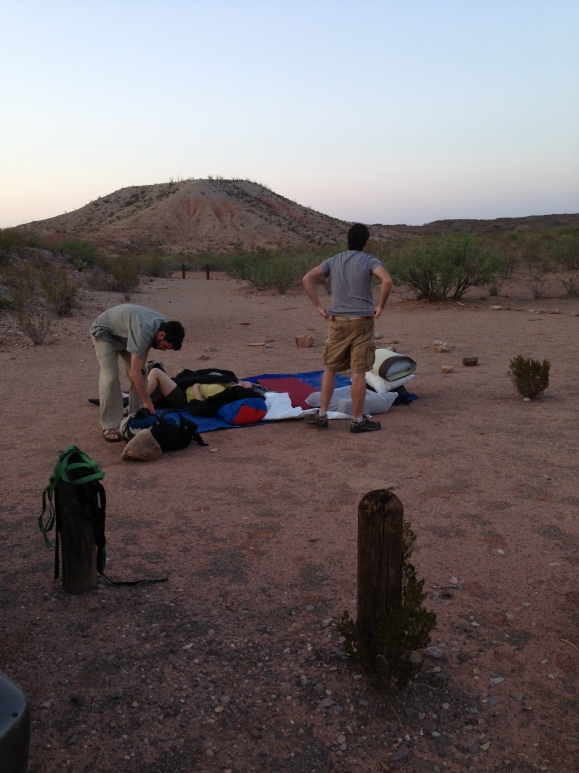 Our first campsite, and the tarp we shared.