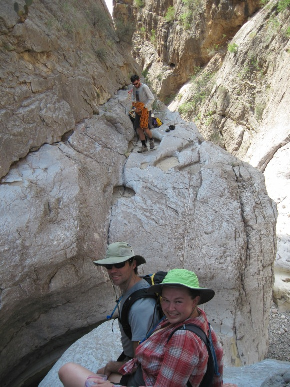 Colin is setting up the rappel on the other side of the gap...while we pretend not to worry about the crossing.